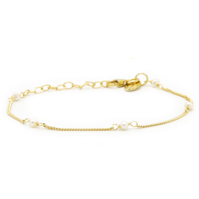 Karma 925 Sterling Zilver Goudkleurige Tiny Pearls Armband 94126GP (Lengte: 16.50 - 19.00 cm)