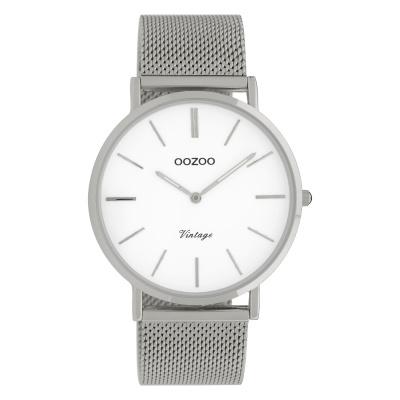 OOZOO Vintage Zilverkleurig/Wit horloge C9901 (40 mm)