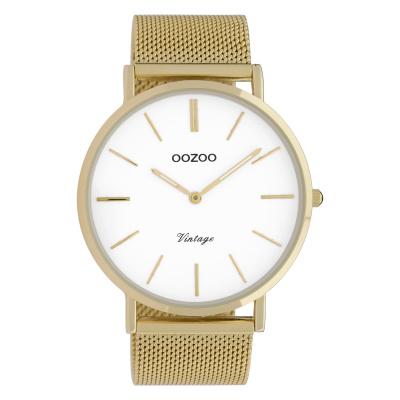 OOZOO Vintage Goudkleurig/Wit horloge C9908 (44 mm)