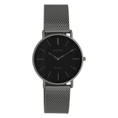 OOZOO Vintage Titanium/Zwart horloge C9931 (32 mm)