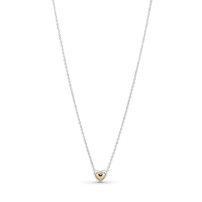 Pandora Passions Two Tone Domed Golden Heart Ketting 399399C00-45 (Lengte: 45.00 cm)