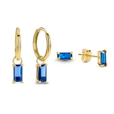 Cadeau d'Isabel 14 karaat baguette gouden earparty giftset