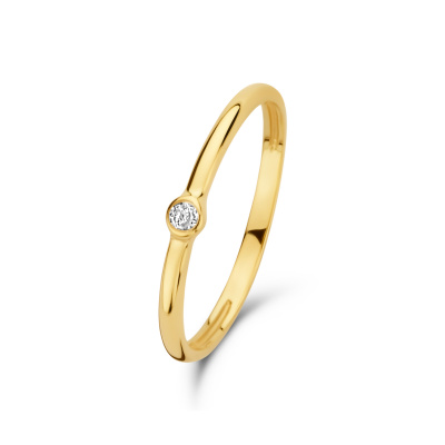 Isabel Bernard 14 Karaat Gouden Asterope Solitary Stone Stacking Ring IBGR00020