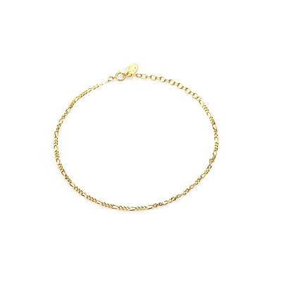 Karma 925 Sterling Zilveren Goudkleurig Figaro Enkelbandje 21008GP (Lengte: 23.00-27.00 cm)