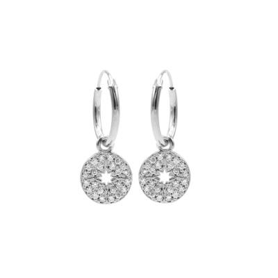 Karma 925 Sterling Zilveren Hoops Symbols Disc Diamond Oorknoppen M2955