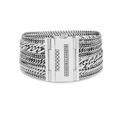Buddha to Buddha 925 Sterling Zilveren Heritage Multi Chain Nathalie Armband 124 (Lengte: 17.00-21.00 cm)