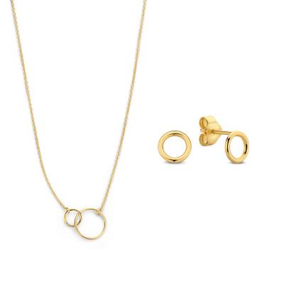 Selected Jewels Selected Gifts 925 sterling zilveren goudkleurige set ketting en oorknoppen SJSET2100900