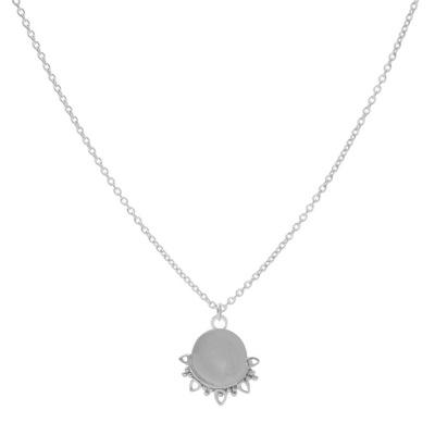 Karma 925 Sterling Zilveren Solid Dotty Flower Ketting T254S (Lengte: 50.00 - 57.00 cm)