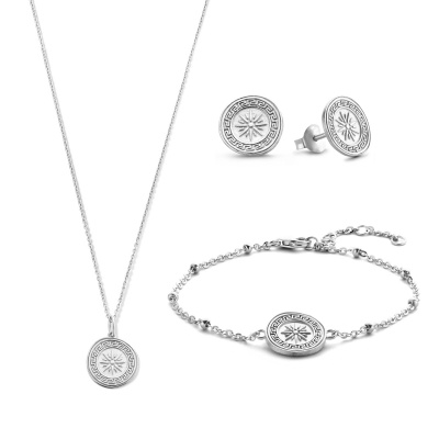 Violet's Gift 925 sterling zilver set ketting, armband en oorknoppen VH90032