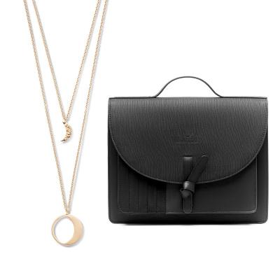 Violet's Gift 925 sterling zilver rosé goudkleurige ketting en zwarte crossbody VH90035