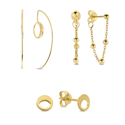 Violet's Gift 925 sterling zilver goudkleurige earparty set VH90037