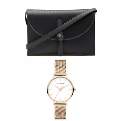 Violet's Gift rosé goudkleurige horloge en zwarte crossbody VH90033