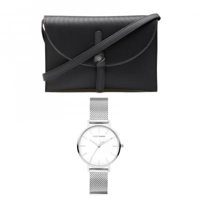 Violet's Gift zilverkleurige horloge en zwarte crossbody VH90031